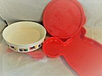 TUPPERWARE DISNEY MICKEY CHILD'S SET,TRAY BOWL W/LID, FORK,SPOON MICKEY SHAPED