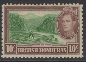 BRITISH HONDURAS SG155 1938 10c GREEN & REDDISH BROWN MTD MINT