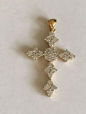 Diamond Cross pendant 18k yellow Gold .80 carat round diamond VS G  H
