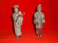 Paire de statuettes en terre cuite peinte.Chine.XIX°.