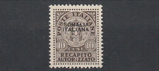 SERIE SOVRASTAMPA SOMALIA ITALIANA NUOVA 1939 RECAPITO AUTORIZZATO MLH LINGUELLA