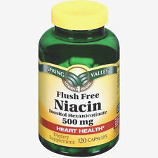 Spring Valley Flush Free Niacin Capsules Pills 500mg 120 Count