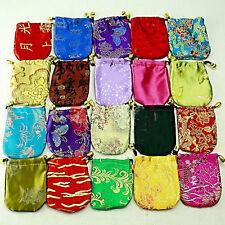 *** piuttosto ** 5 x in raso/seta/gioielli regalo buste Misto Colori/Designs