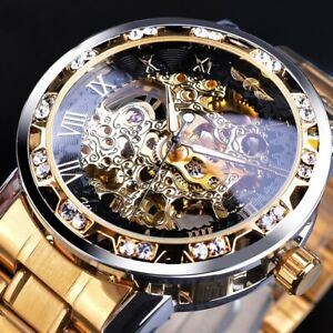 Skeleton Automatic Mechanical Watch Luxury Transparent Stainless Steel Mens Band