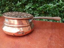 Ancienne bassinoire chauffe lit en cuivre XVIII ème, art populaire