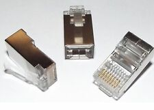 RJ45 SHIELDED 8p8c Crimp Plug - PACK OF 50 - For Cat5e / Cat6 FTP Patch Leads