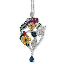 "Cheryl M 925 Sterling Silver Enameled CZ & Gemstones Hummingbird Necklace 18"""