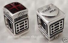 100% Authentic PANDORA Silver RED Enamel LONDON CALLING Phone Booth Charm~Bead