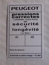 AUTOCOLLANT PRESSION PNEUS PEUGEOT 504 BERLINE-CABRIOLET-COUPE-FAMILLIALE-BREAK-