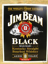 Jim Beam Bourbon Whisky Bar Tin Metal Sign Decor Black NEW