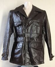 Vtg 60s 70s Beau Breed Belted Leather Jacket Size 40 Brown Made In USA