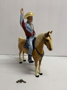 Vintage 1950's Hartland Roy Rogers With Horse Silver, Saddle Pistol And Hat