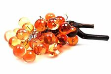 Vintage Plastic Lucite Grape Cluster on Driftwood Copper Wire Amber Orange