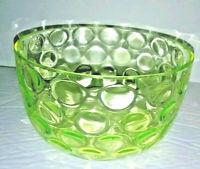 Victorian Art Glass Finger Bowl Vaseline Yellow Inverted Thumbprint Antique