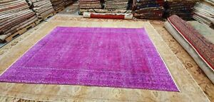 "Rare Antique 1930-1940's Over Dye Fuchsia  Wool Pile Oushak Area Rug 6'9""×9'7"""