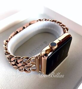 24K ROSE Gold Plated 42MM Apple Watch SERIES 2 with Rose Gold Links Band CUSTOM
