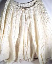 Vintage Off White Knitted Shawl / Wrap Around With Fringe
