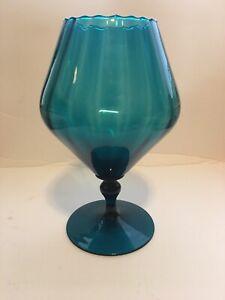 Large Vintage Blue Decorative Brandy Snifter Vase