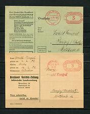 Dt. Reich:  zwei Maschinenstempel von 1935, Breslau und Berlin   (RR-46)
