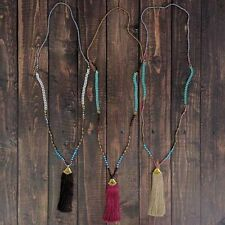 Free People SAND/Tan Mint & Turquoise TASSEL Long GLASS Bead NECKLACE New