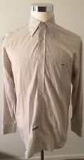 LaCoste Mens 40 Medium 100% Cotton Button Front Long Sleeve Striped Shirt