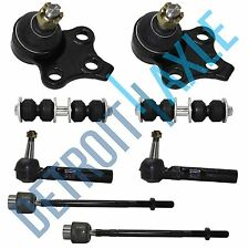 2 Front Lower Ball Joint Assembly, Inner and Outer Tie Rod End + Sway Bar Link