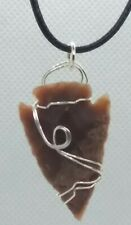 Stone Arrowhead Wire Wrapped Pendant Necklace Handcrafted Artisan Jewelry 7ah26