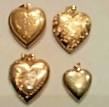 Collection of Four Gold Tone Heart Shaped Lockets w/Pretty designs