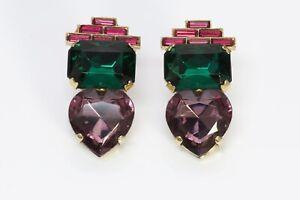Zoe Coste Paris Pink Purple Green Crystal Heart Earrings