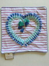 New Pottery Barn Pillow Cover Heart Tassels Striped Girl Teen 16 X 16 Pink Blue