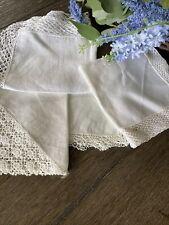 Vintage White Linen Cotton Crocheted Lace Ladies Handkerchiefs Lot of 4