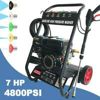 Pressure Washer 4800PSI 7HP Gas 196cc with Power Spray Gun 4-Stroke 5 Nozzles US