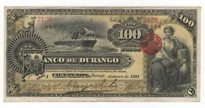 BETTER GRADE SCARCE 1914 DURANGO MEXICO 100 PESOS