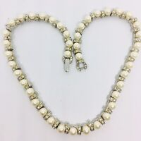 Beautiful Faux Pearl and Rhinestone Necklace Articulated Classic Vintage Jewelry