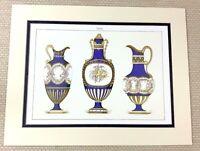 1988 Stampa Francese Cobalto Blu Brocca Ghirlanda Urna Vaso Antico Porcellana