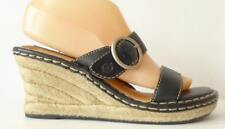 Women's BORN Wedge Black Leather Sandals Slip on Shoes