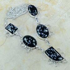 Natural Artesanal Obsidiano Copo De Nieve Plata de ley 925 Collar 45.1cm B3824