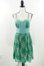 Plenty Frock by Tracy Reese Green Lace Pleated Fit and Flare Dress Size 6