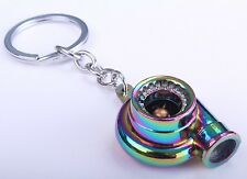 Turbo Charger Boost Fan Metal Anodized Key Chain Keyring Neo Chrome Supercharger