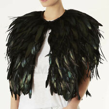 Womens Faux Peacock Feather Cape Coats Nightclub Halloween Evening Party Jackets