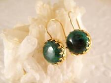 Eilat stone Gold Filled Dangle Earrings Israel Stone Hand Made Blue Green Stone