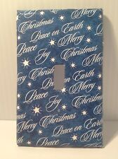 "New Blue w/ White Christmas / Holiday Switch Plate  ""Peace on Earth,"" ""Joy"""