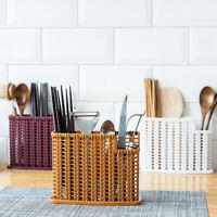 JW_ Kitchen Tableware Holder Spoon Drainer Storage Basket Chopstick Container