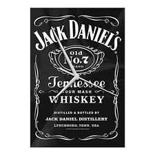 JACK DANIELS Glass Clock Analogue Full Label OLD No7 Wall Man Cave Bar Gift
