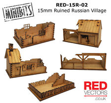 RED-15R-02 - 15mm Wargames - Ruined Russian Village (5 buildings)