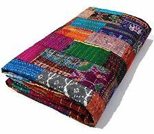 SILK PATOLA BEDSHEET Indian Handmade Quilt Vintage  COVERLET BEDSPREAD KING SIZE