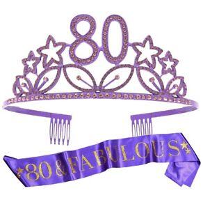 80th Birthday Tiara and Sash Purple Party Supplies Fabulous Glitter Satin Crown