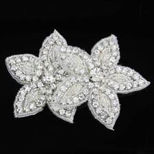 Silver Crystal Applique Floral Trim Sew Trim Craft Wedding Sew Iron ON Appliques
