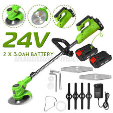 24V Cordless Electric Grass Trimmer Garden Heavy Duty Weed Lawn Strimmer Cutter