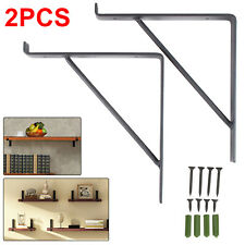 Pair of Rustic Scaffold Board Steel Shelf Brackets Industrial Heavy Duty
